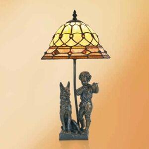 Artistar Hugo stolná lampa živicové figúrky štýl Tiffany