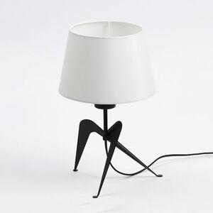 Aluminor Stolná lampa Lola látkové tienidlo, čierno-biele