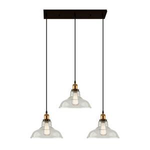 ALTAVOLA DESIGN Závesná lampa LA040 E27 3-pl. mosadz/číra