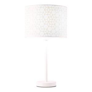 Brilliant Stolná lampa Galance, biela s kovovým podstavcom