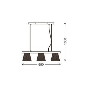 Briloner Závesná lampa Wood & Style 4077, dlhá, 3-pl.