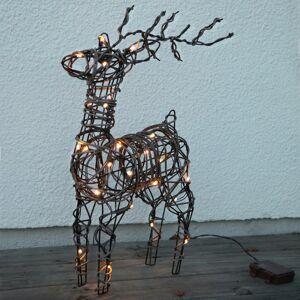 STAR TRADING Vonkajšie LED deko Deer vzhľad hnedý ratan batéria