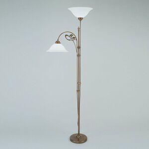 Berliner Messinglamp Mosadzná stojaca lampa Alwine dvoj-plameňová