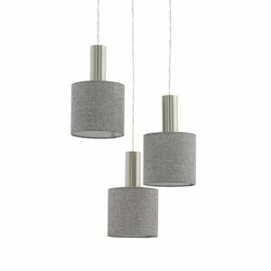 EGLO Závesná lampa Concessa 3-pl. sivý ľan