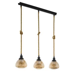 EGLO Závesná lampa Rampside s tromi sklenými tienidlami