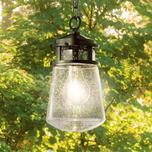 KICHLER Vonkajšia závesná lampa Lyndon sklenené tienidlo