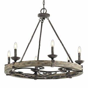 KICHLER Rustikálny luster Taulbee, šesť svetiel