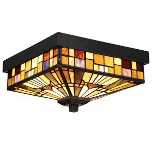 QUOIZEL Vonkajšie stropné svietidlo Inglenook farebné sklo