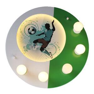 Elobra Stropné svietidlo Soccer, 5-pl., zelené-biele