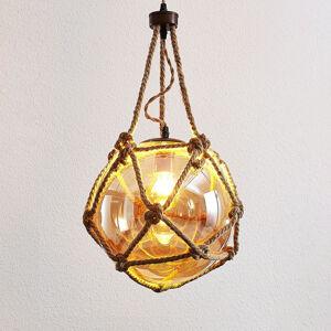 Lampenwelt.com Závesná lampa Georgina zo skla jantárovej farby