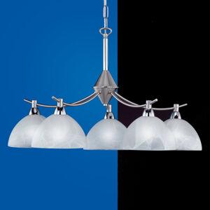 FISCHER & HONSEL 5-plameňová závesná lampa AMSTERDAM matný nikel