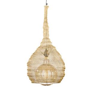 FISCHER & HONSEL Zlatá závesná lampa klietkovým tienidlom Ano Ø35cm
