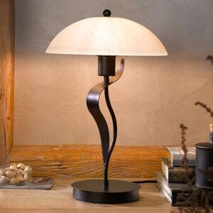 FISCHER & HONSEL Stolná lampa Pueblo sklenené tienidlo kovový dekór