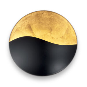 Ideallux Nástenné svetlo Sunrise G9, čierne/zlaté Ø 35cm
