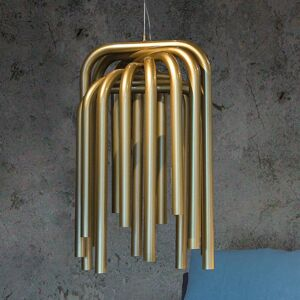 Karboxx Závesné LED svietidlo Pipes v zlatej farbe