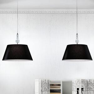Lam Závesná lampa Crystal čierna, 2-plameňové