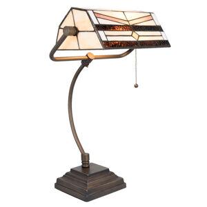 Clayre & Eef Lampa na písací stôl 5193 v štýle Tiffany krémová