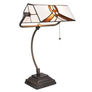 Clayre & Eef Lampa na písací stôl 5195 bielo-hnedé tienidlo