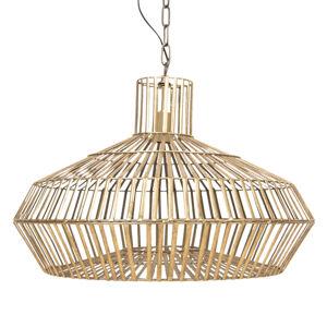 Clayre & Eef Závesná lampa 623 so zlatým klietkovým tienidlom