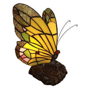 Clayre & Eef Dekoračná lampa 6009, tvar motýľa, podľa Tiffany