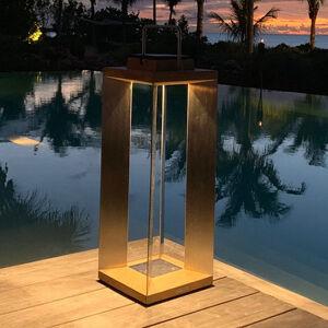 LES JARDINS Solárna LED lucerna Teckinox, teak/oceľ, 65,5cm