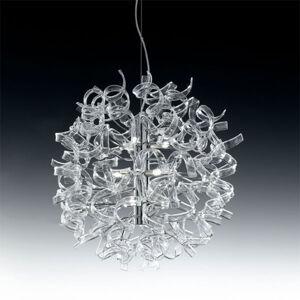 Mettallux Moderná závesná lampa ASTRO, 9-plameňová, číra