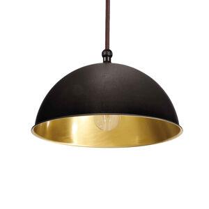 Moretti Závesná lampa Circle zlatá/čiernená mosadz Ø15cm