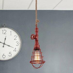 Näve Závesná lampa v priemyselnom dizajne červená