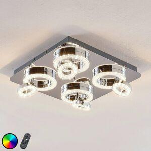 Lindby Stropné LED svietidlo Mikkel RGBW 40x40 cm