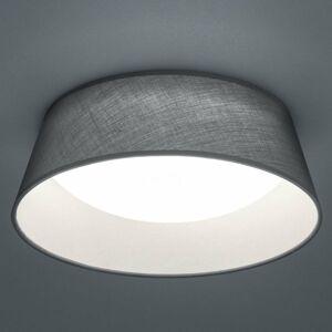 Reality Leuchten Stropné LED svietidlo Ponts sivé textilné tienidlo