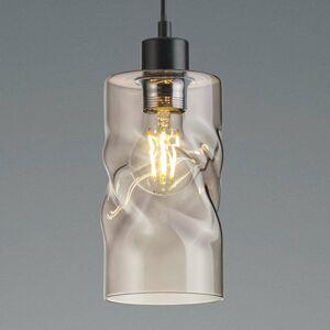 Reality Leuchten Závesná lampa Swirl zo skla 1-pl. dymová sivá