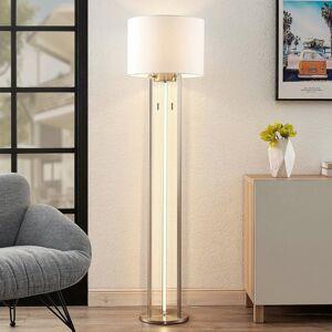 Lindby Lindby Jadzia látková stojaca LED lampa, biela