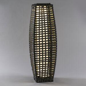 Saico Solárna LED Stĺpik ratan, cibuľovitá, tmavosivá
