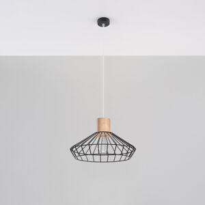 SOLLUX Závesná lampa Grid tienidlo mriežka drevo Ø 37cm