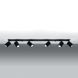 SOLLUX Stropné svietidlo Square, čierne 6-pl. lineárne