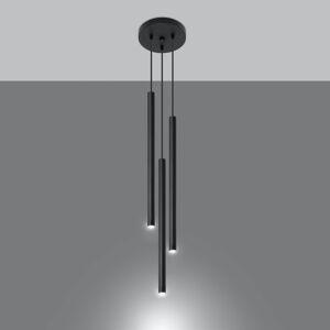 SOLLUX Závesná lampa Thin, čierna, 3-plameňová, rondel
