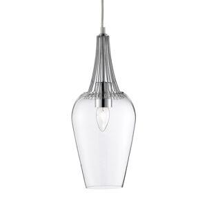 Searchlight Sklenená závesná lampa Whisk s chrómovými prvkami