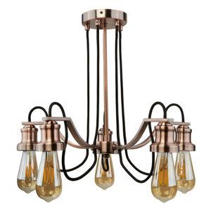 Searchlight Závesná lampa Celi 5-pl., medená starožitná