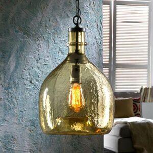 Schuller Sklenená závesná lampa Laia v retro vzhľade jantár