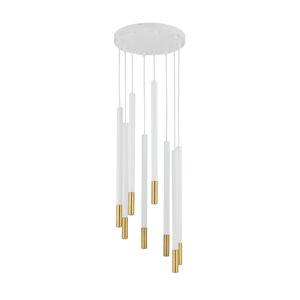 SIGMA Závesná lampa Sopel Due 8, biela/zlatá 8-plameňová