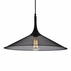Viokef Čierna kovová závesná lampa Izzy s mriežkou