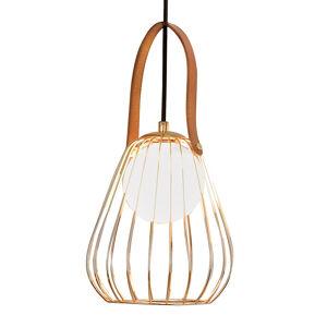 Viokef Závesná lampa Levik so zlatou klietkou Ø 18cm