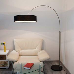Lindby Textilná stojaca lampa Shing s čiernym tienidlom