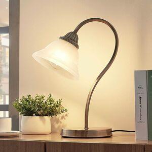 Lindby Zakrivená stolná lampa Mialina E27 LED