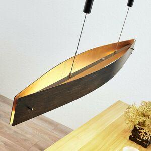 Lucande Závesná LED lampa Lio čierna zlatý dekór