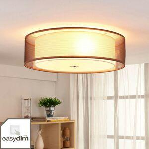 Lindby Hnedé látkové stropné LED svietidlo Tobia, easydim