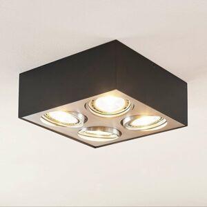 Arcchio Stropné LED svietidlo Dwight čierne štvor-plameň