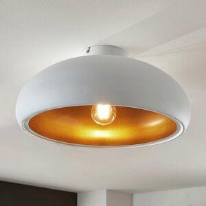 Lindby Kovová stropná lampa Gerwina, bielo-zlatá