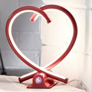 Lampenwelt.com Srdcová stolná LED lampa Valentin červená