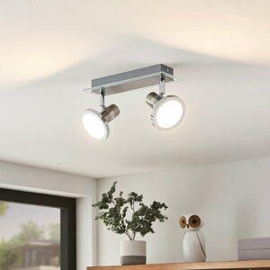 Lindby Lindby Kajetan LED reflektor, nikel, dve svetlá